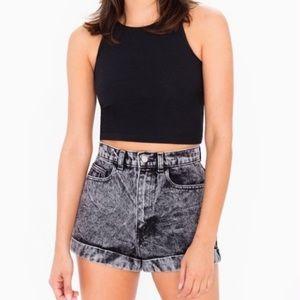 American Apparel Black Acid Wash High-Waist Shorts
